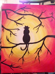 paint nite cat scene picture copy