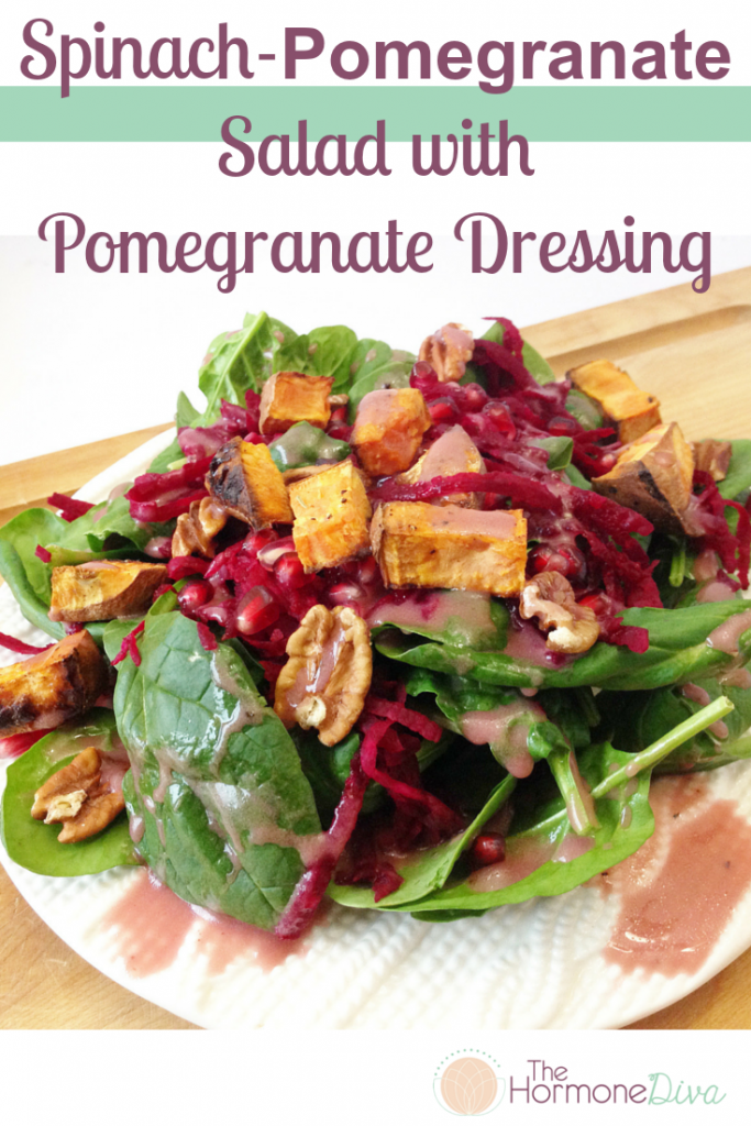 Spinach Pomegranate Salad with Pomegranate Salad Dressing | The Hormone Diva