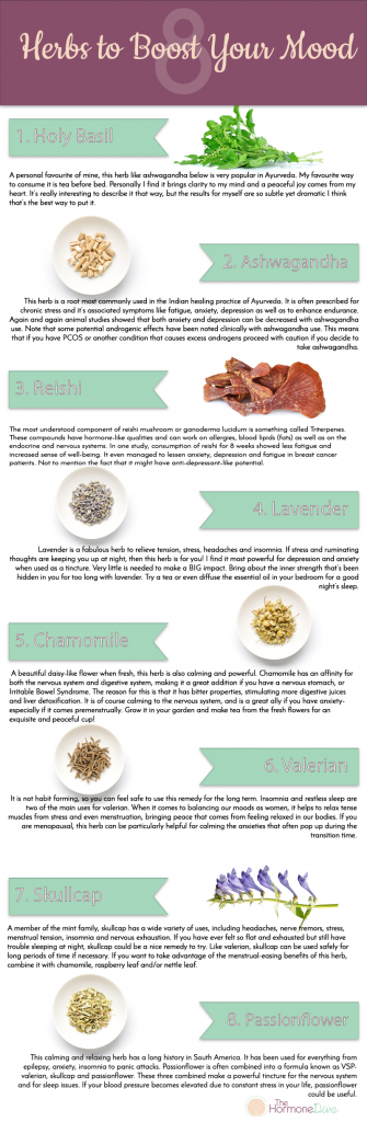 8 Promising Herbs to Boost Your Mood | Infographic | The Hormone Diva