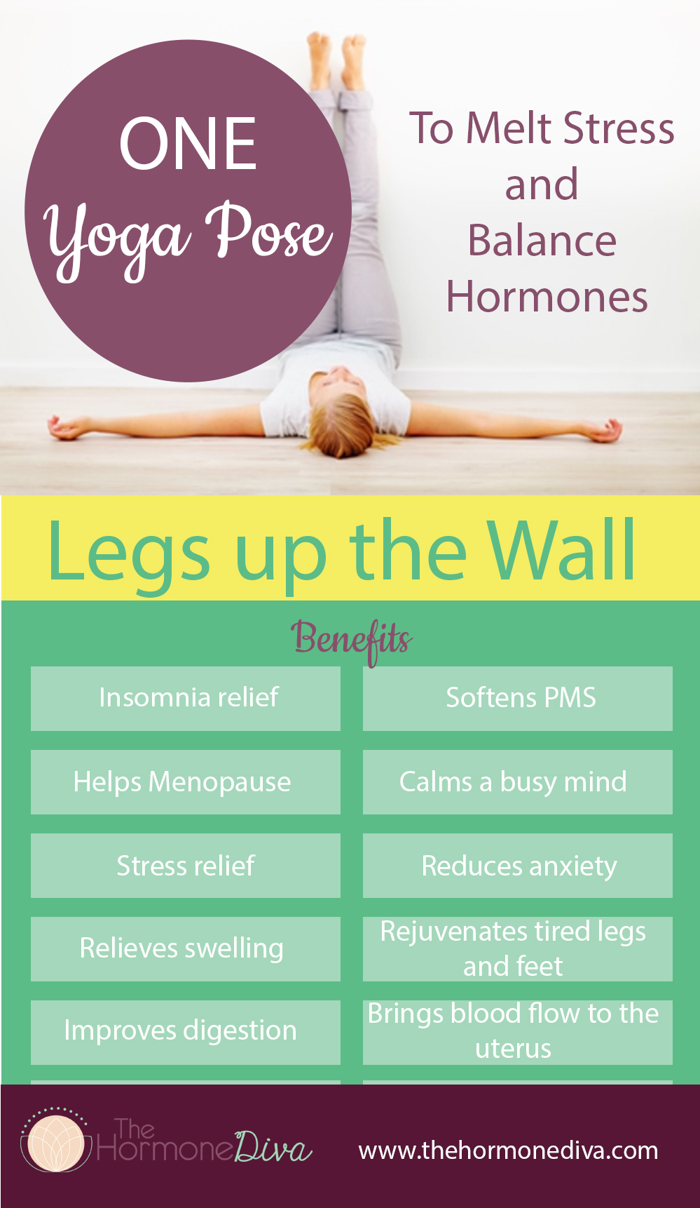 One Yoga Pose to Melt Stress and Balance Hormones | Infographic | The Hormone Diva